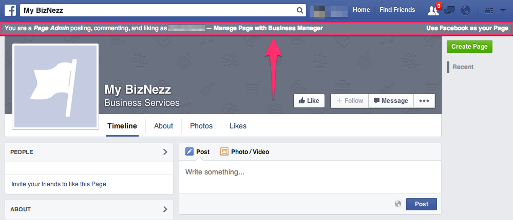 Facebook Business Manager - Gray Bar on Page