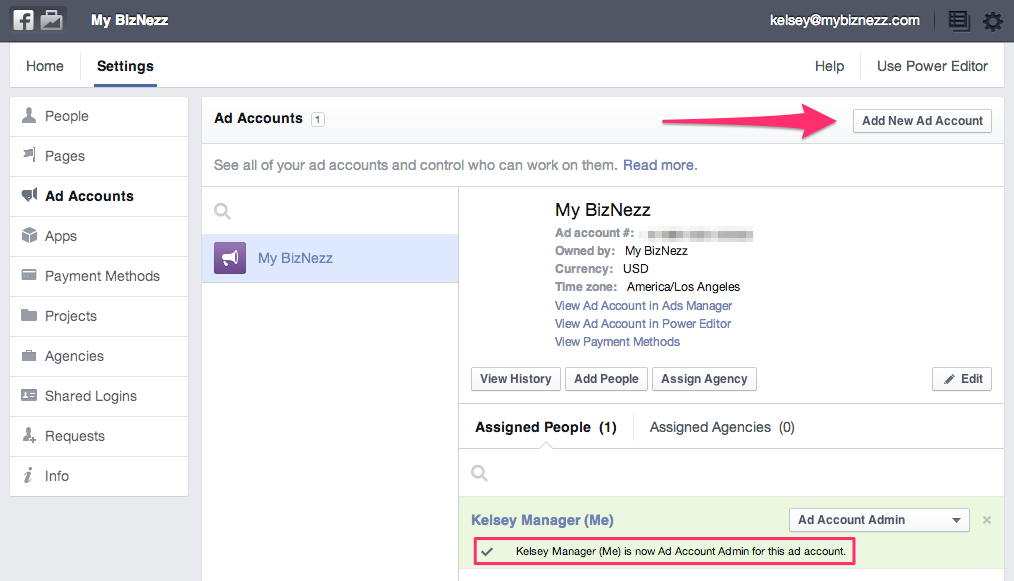 Facebook Business Manager - Claimed Ad Account
