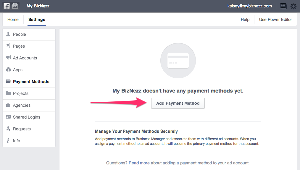 Facebook Business Manager - Add Payment Method