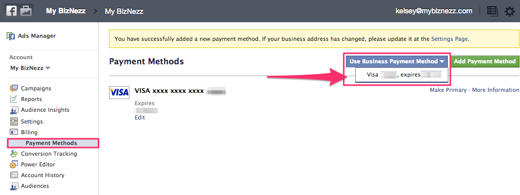 Facebook Business Manager - Select Payment Method
