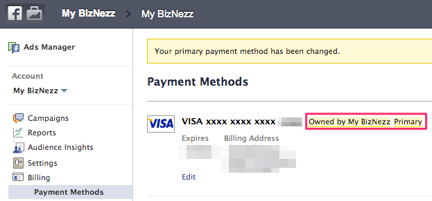Facebook Business Manager - Set Primary Payment Method in Ads Manager
