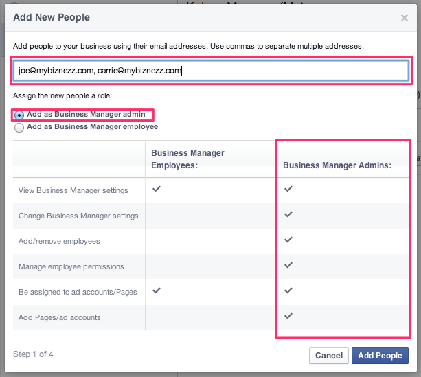 Facebook Business Manager - Add New People