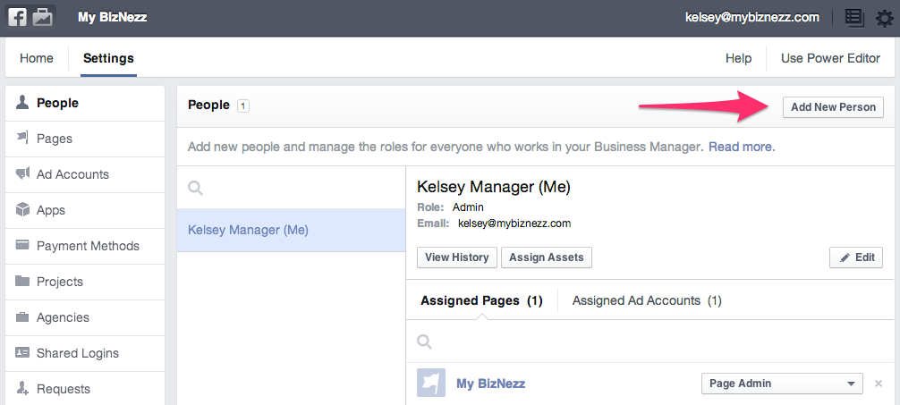 Facebook Business Manager - People