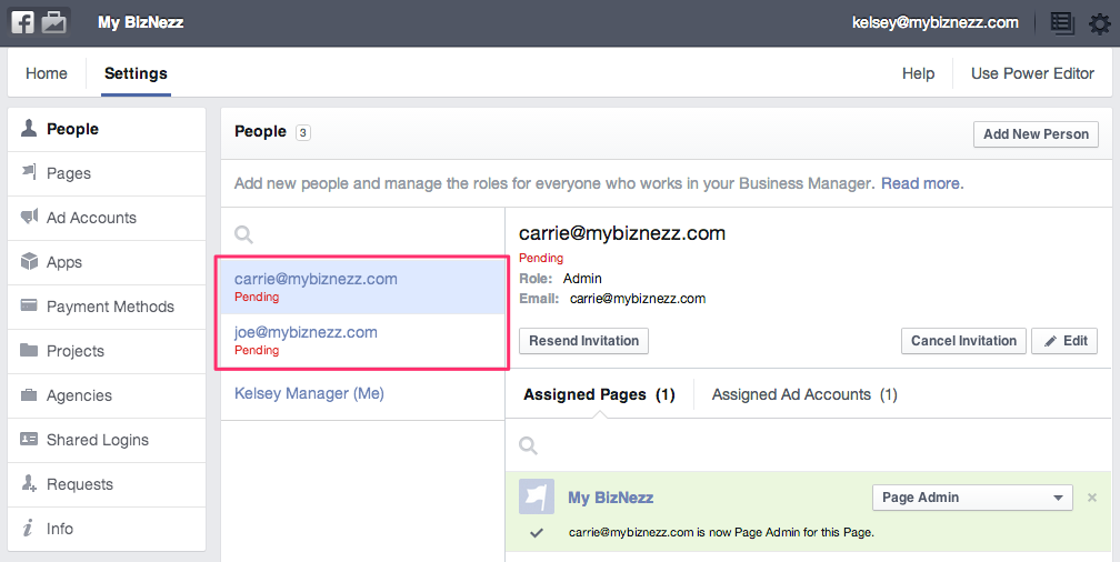 Facebook Business Manager - Permissions for New Admins