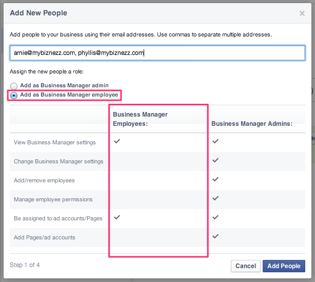 Facebook Business Manager - Add New Employees