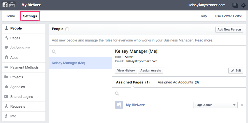 Facebook Business Manager - Settings