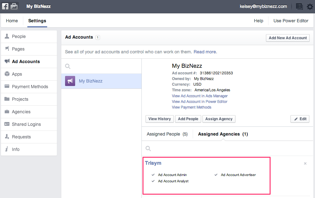 Facebook Business Manager - Agency Assigned to Ad Account