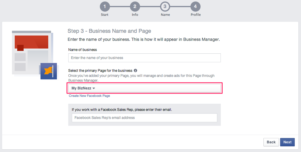 Facebook Business Manager - Business Name and Page